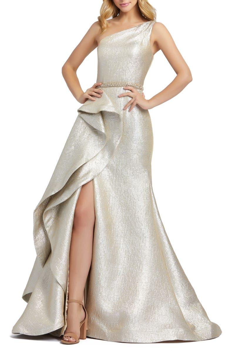 MAC DUGGAL One-Shoulder Ruffle Metallic Mermaid Gown, Main, color, OYSTER