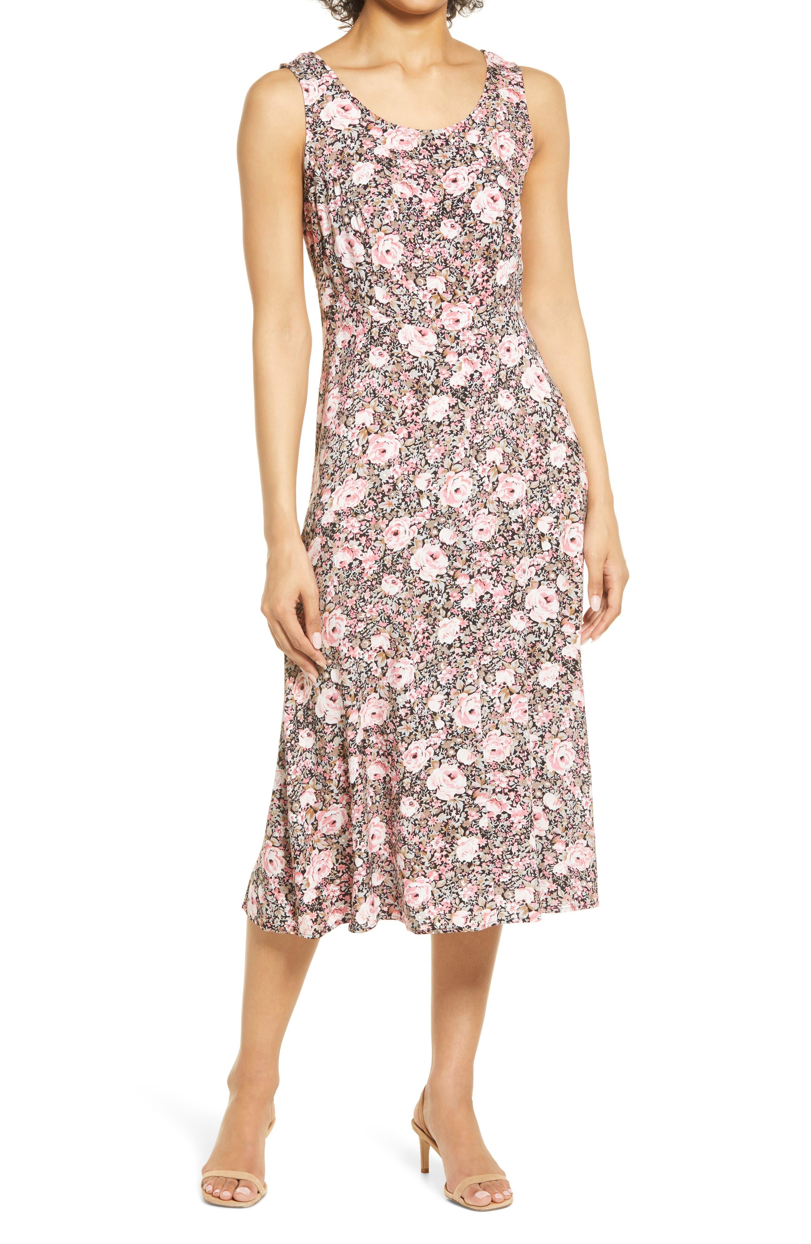 Floral Sleeveless Tie Back Midi Dress