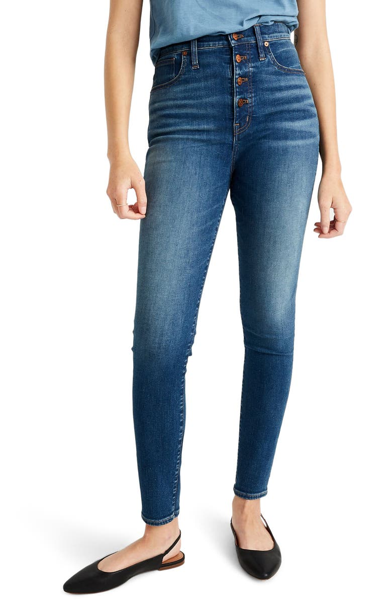 MADEWELL 11-Inch High Rise Skinny Jeans: Button Front Edition, Main, color, AMES WASH