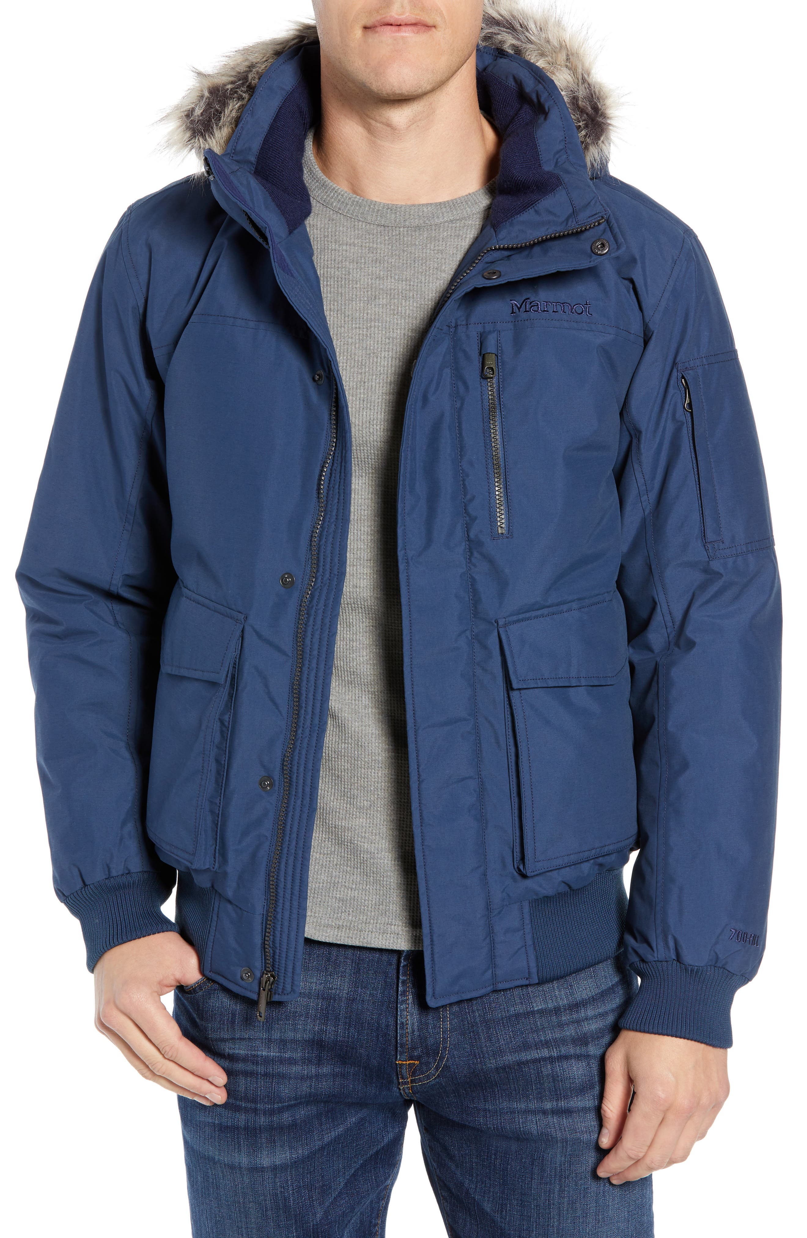 Marmot Stonehaven Waterproof 700 Fill Power Down Jacket With Faux Fur Trim, Blue