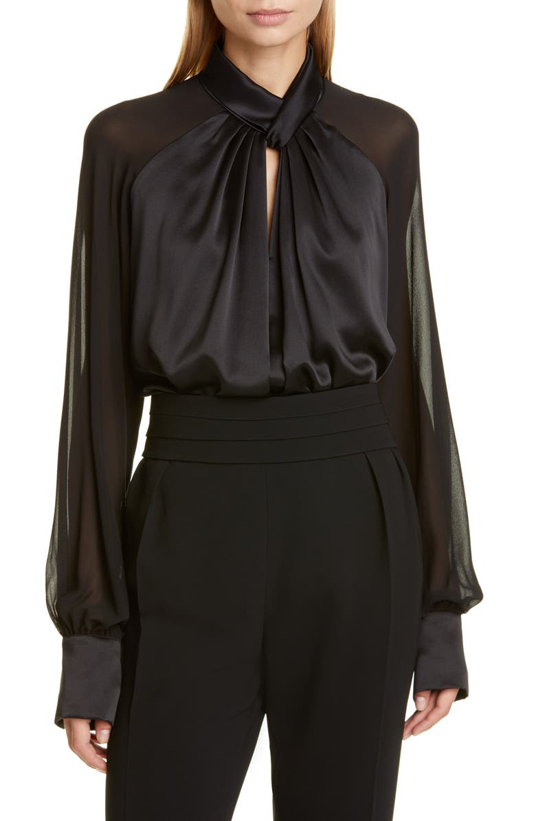 MAX MARA Enna Silk Blouse, Main, color, BLACK
