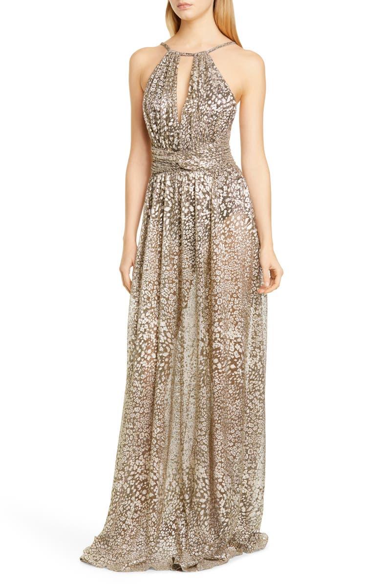PATBO Metallic Leopard Halter Gown, Main, color, GOLD
