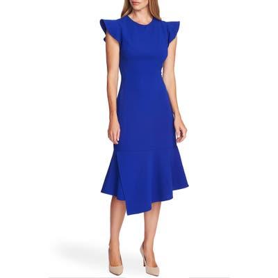 Vince Camuto Flutter Sleeve Asymmetrical Hem Dress, Blue