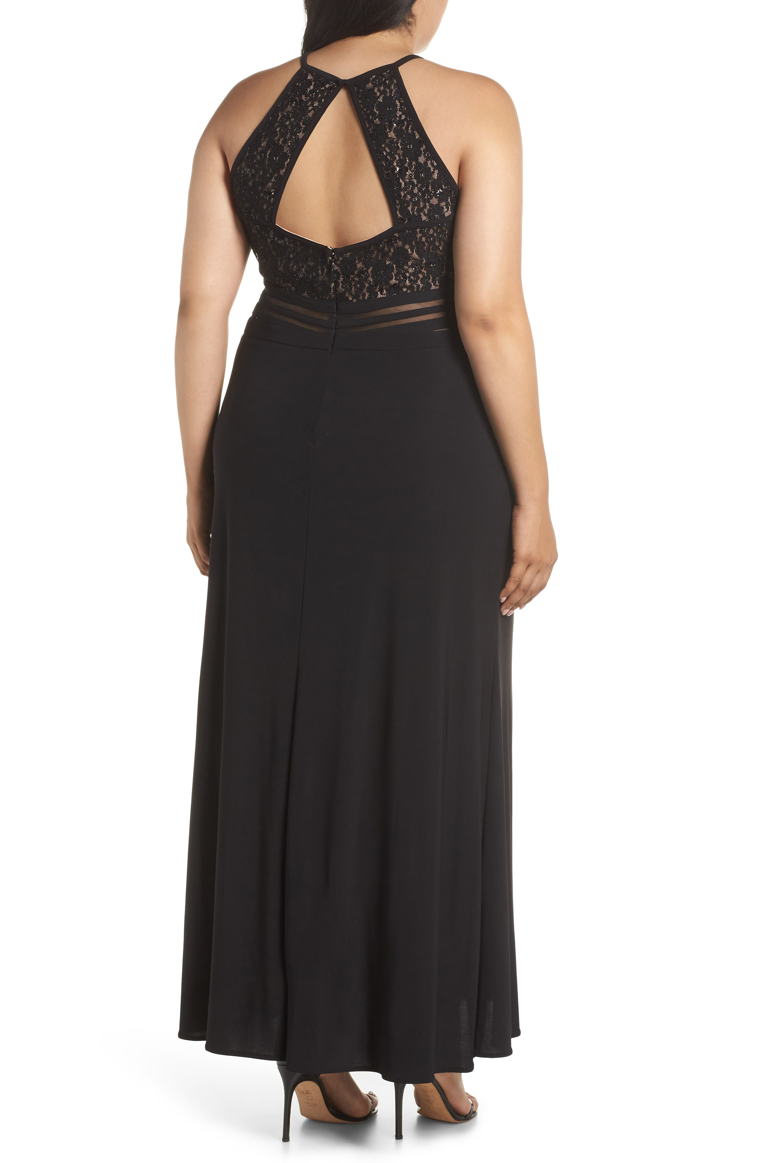 ,                             Illusion Inset Lace Bodice Gown,                             Alternate thumbnail 2, color,                             BLACK/ NUDE