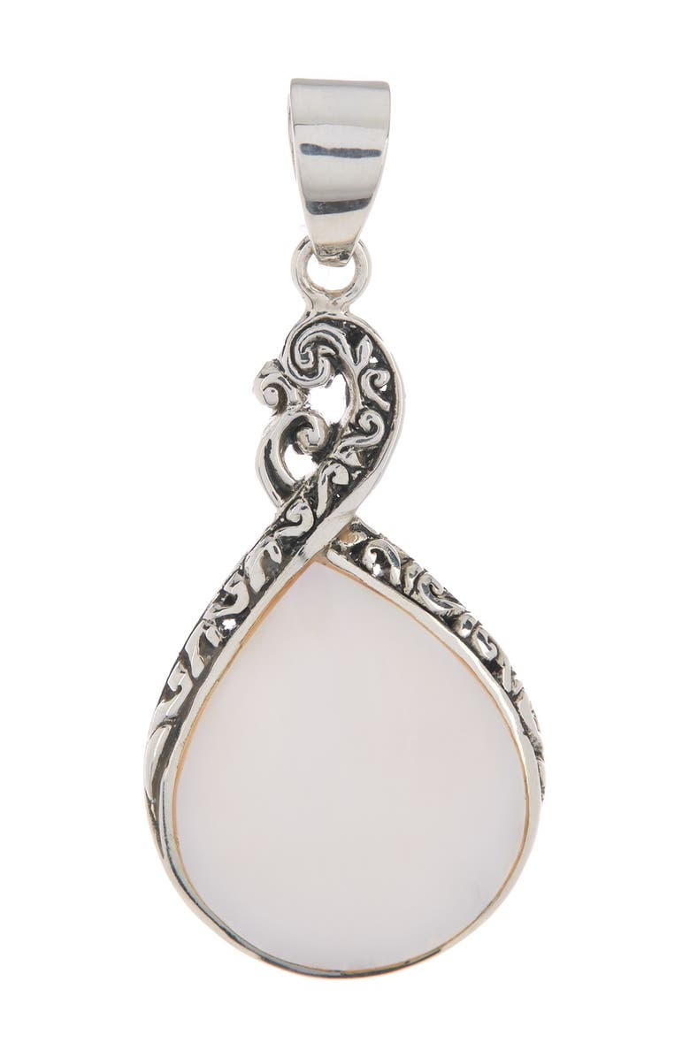 SAMUEL B. Sterling Silver Balinese Design Mother of Pearl Pendant, Main, color, WHITE