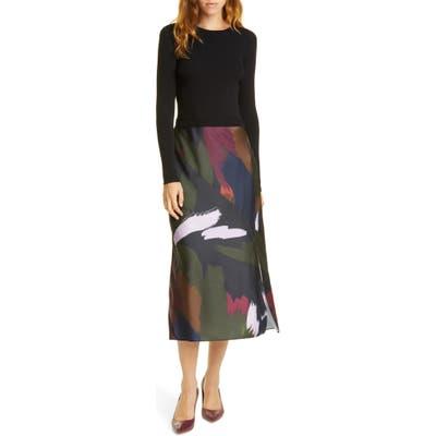 Ted Baker London Tamlin Sapphire Long Sleeve Mixed Media Dress, Black
