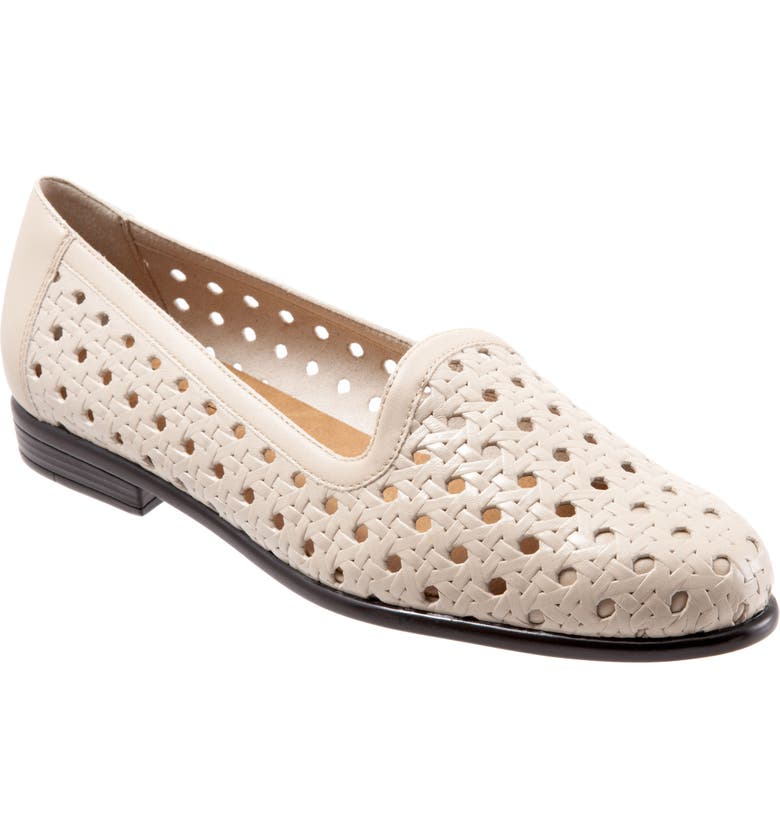 TROTTERS Liz Woven Loafer Flat, Main, color, BONE LEATHER