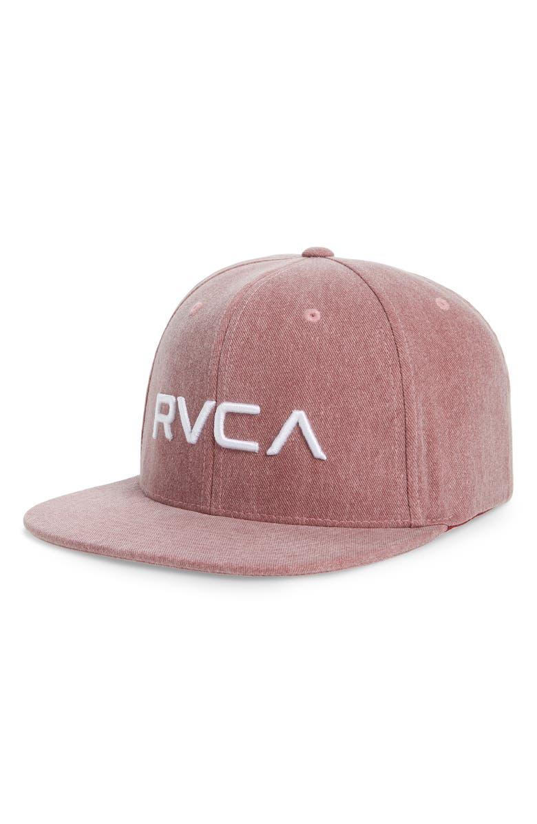 RVCA Twill Snapback Baseball Cap, Main, color, RUSTIC RED