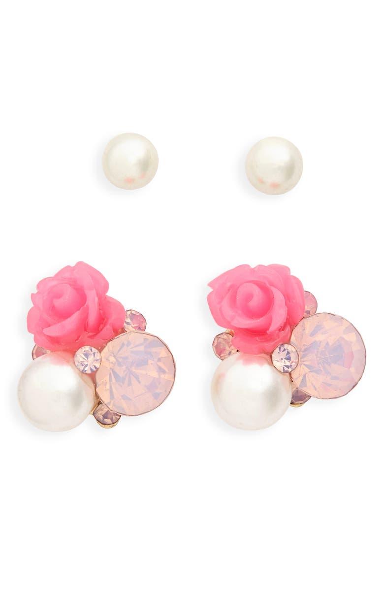 CARA 2-Pack Imitation Pearl & Rose Stud Earrings, Main, color, MULTI
