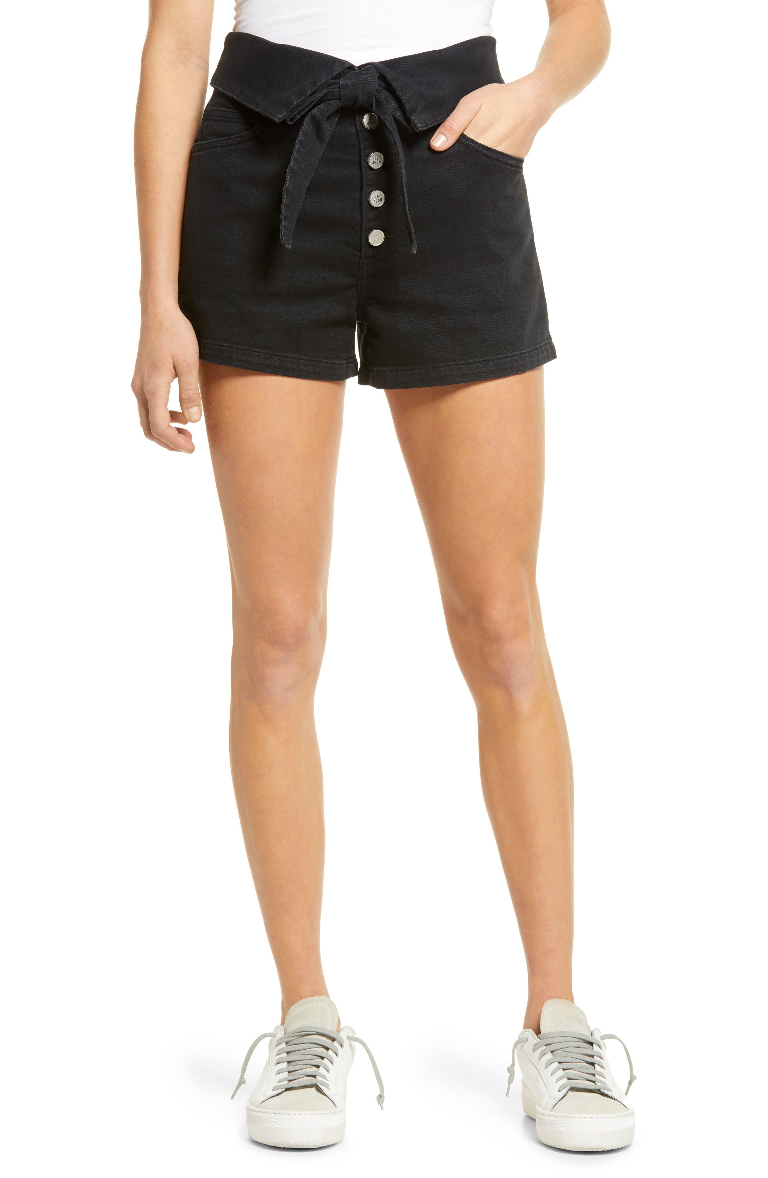 Lola High Waist Button Fly Denim Shorts