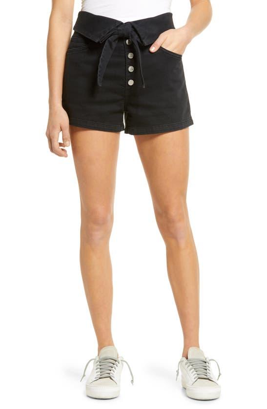 Le Jean Lola High Waist Button Fly Denim Shorts In Black Fade Wash