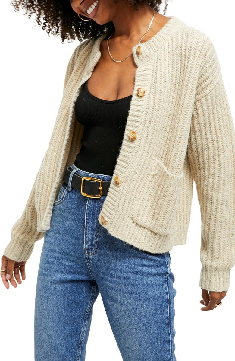 BDG URBAN OUTFITTERS Shaker Stitch Cardigan, Main, color, STRAW