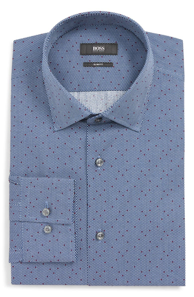 BOSS Jenno Slim Fit Print Dress Shirt, Main, color, NAVY