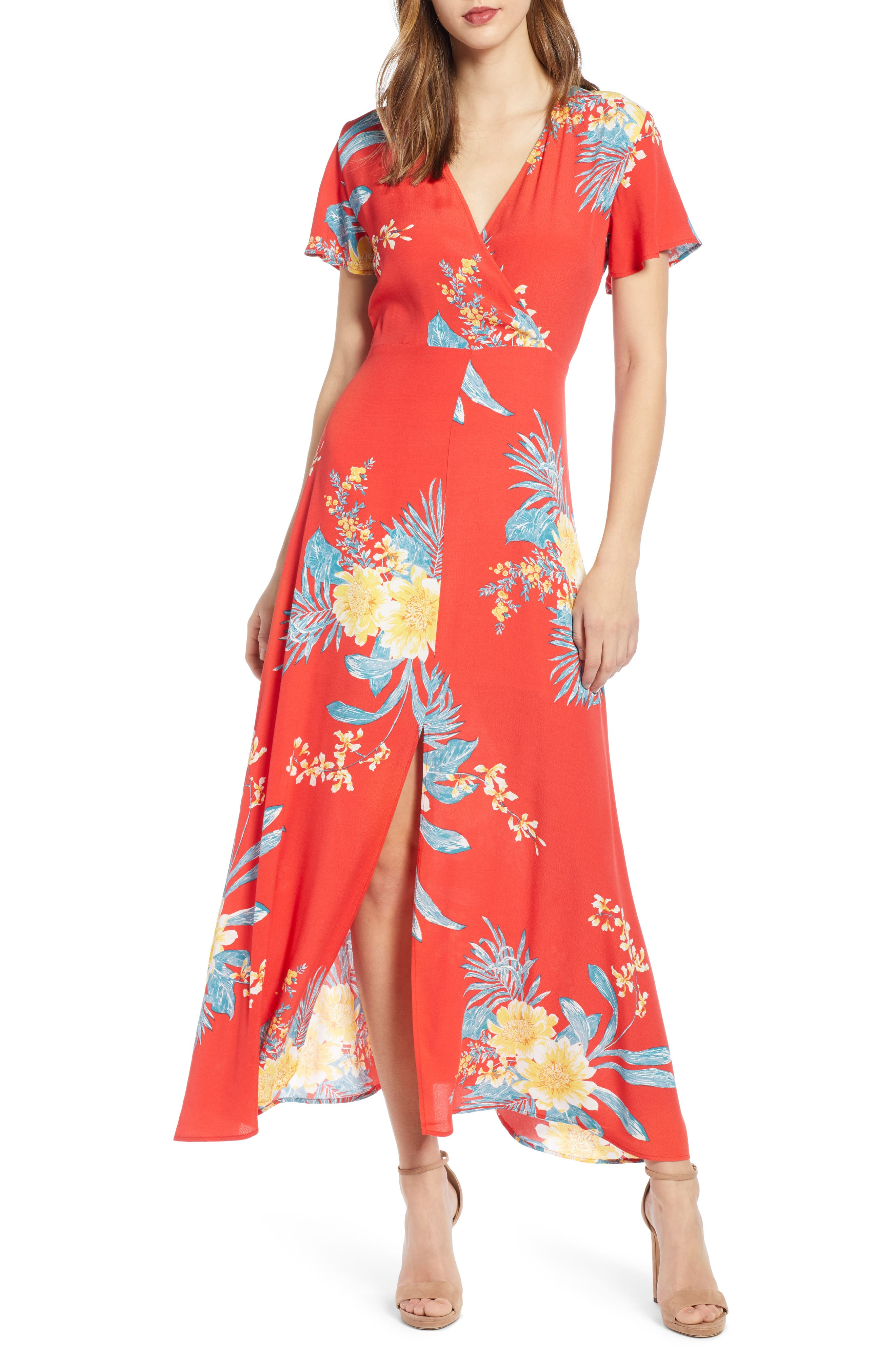 ,                             Surplice Maxi Dress,                             Main thumbnail 1, color,                             RED SCARLET ILLUSTRATED FLORAL