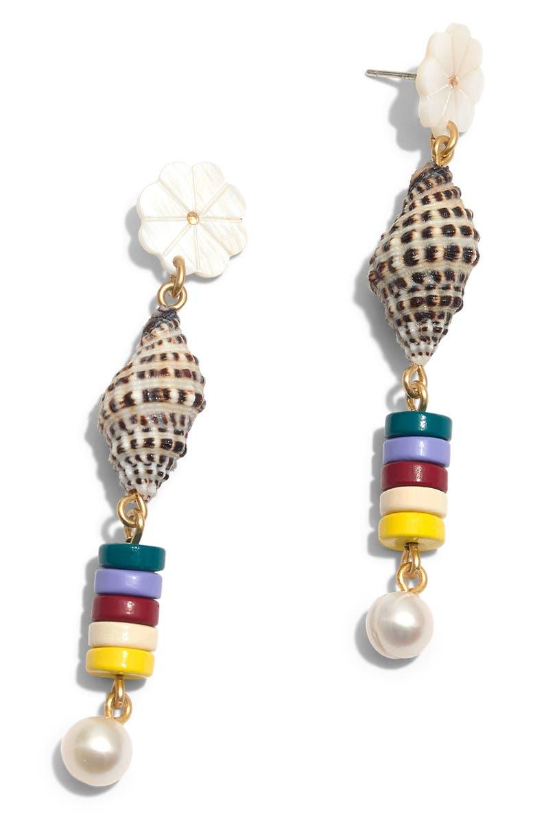 MADEWELL Beachside Statement Earrings, Main, color, WHITE/ SHELL MULTI
