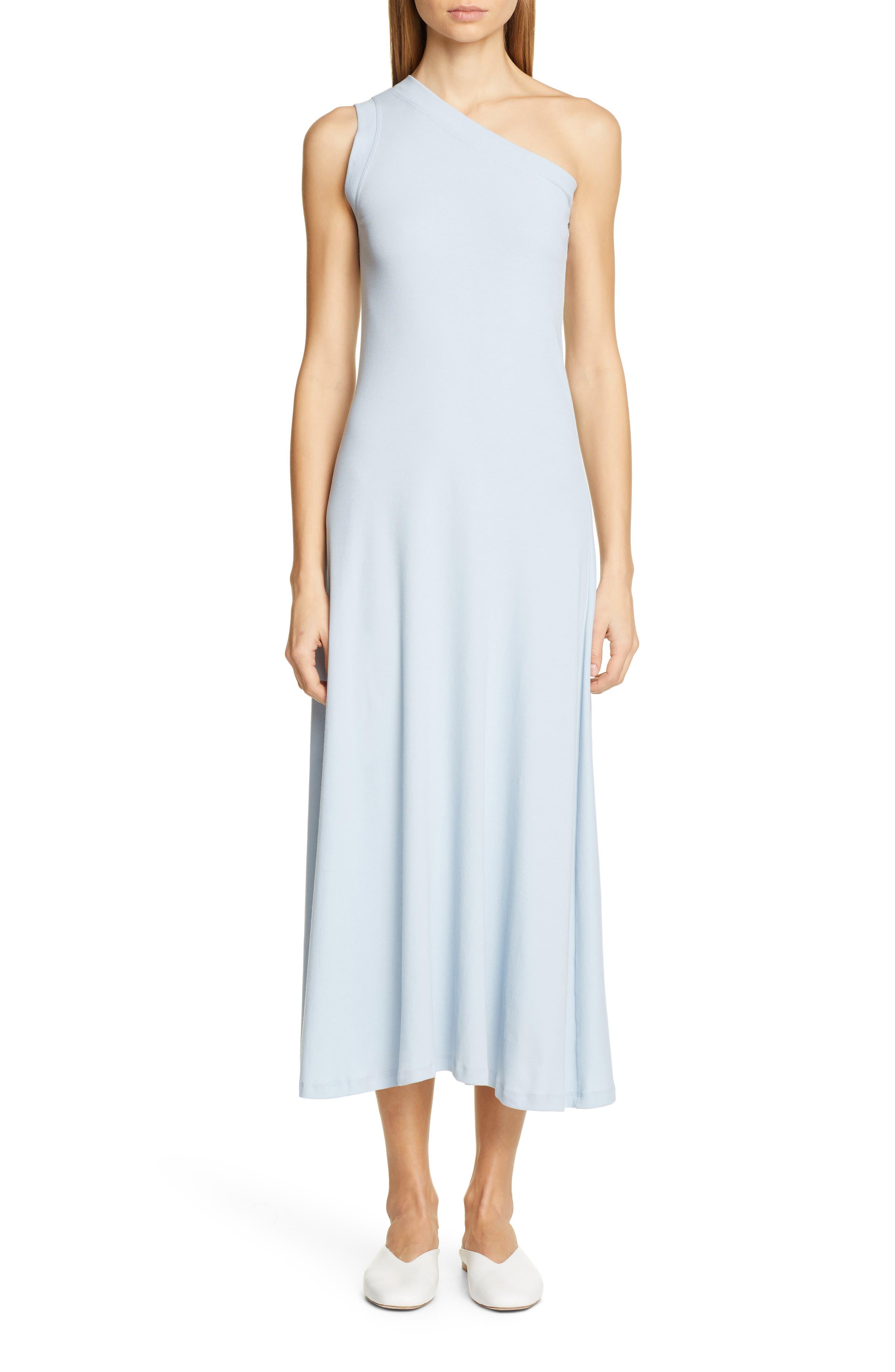 Rosetta Getty One-Shoulder Jersey Dress, Blue