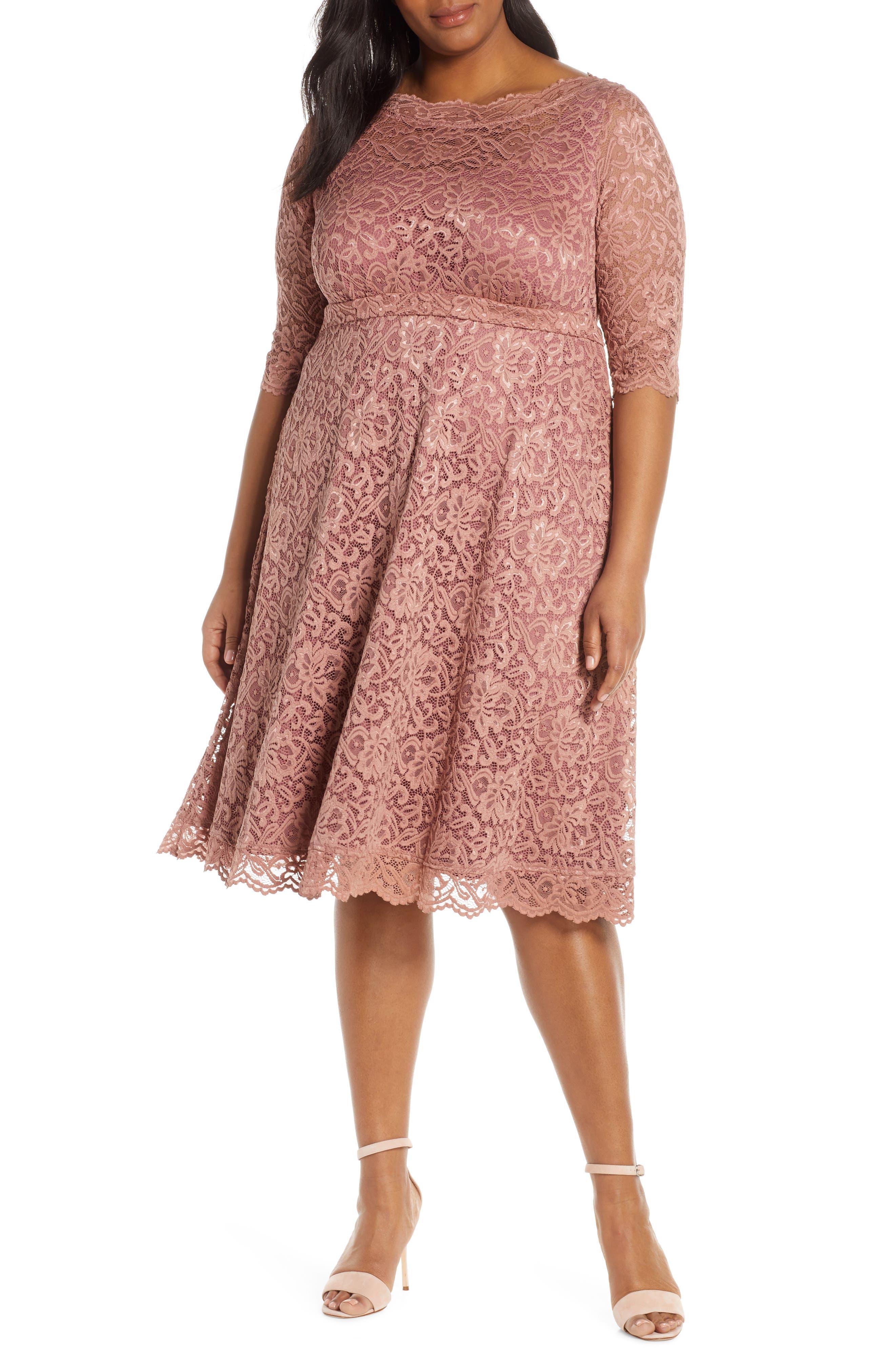 Plus Size Kiyonna Lacy Cocktail Dress, Pink