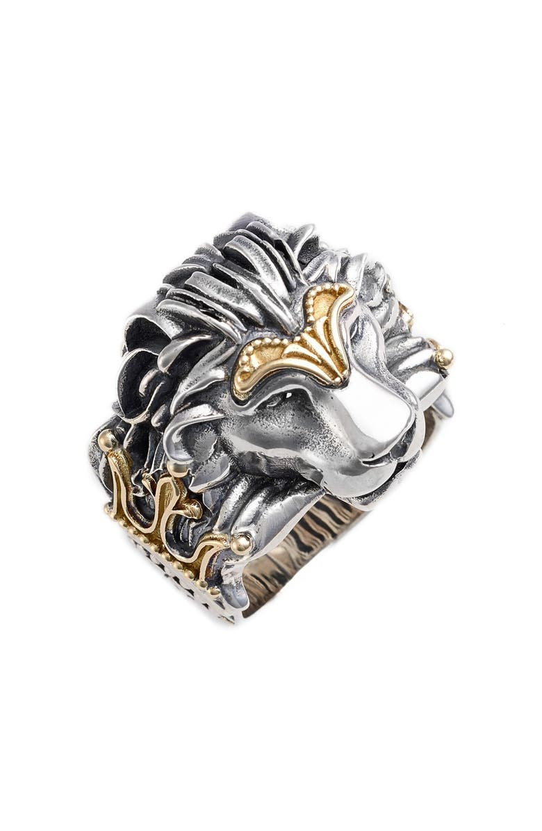 KONSTANTINO Carved Lion Ring, Main, color, SILVER/ GOLD