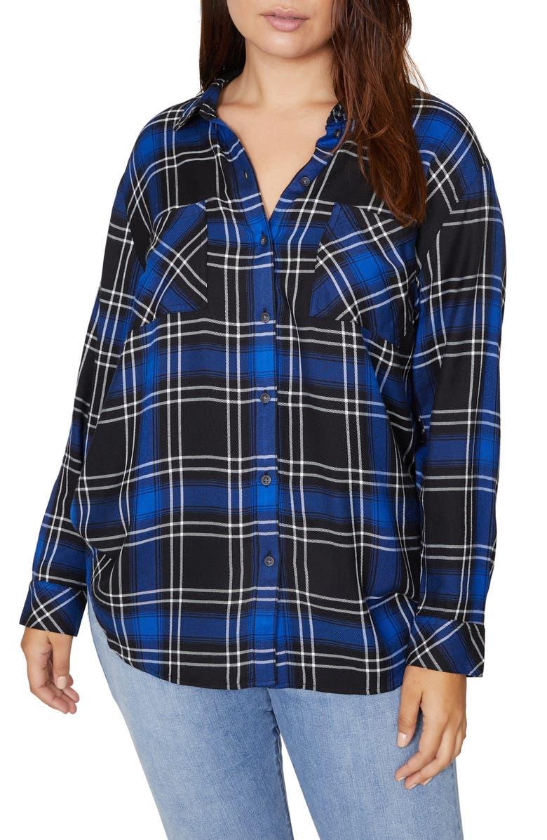 SANCTUARY New Generation Plaid Boyfriend Shirt, Main, color, WEB BLUE PLAID