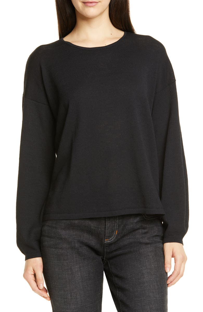 EILEEN FISHER Round Neck Box Wool Sweater, Main, color, BLACK
