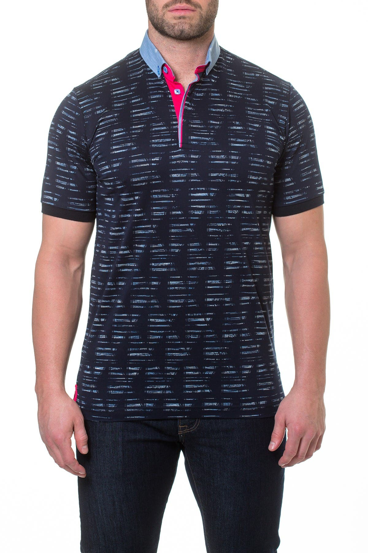 Image of Maceoo Viewpoint Woven Trim Print Polo