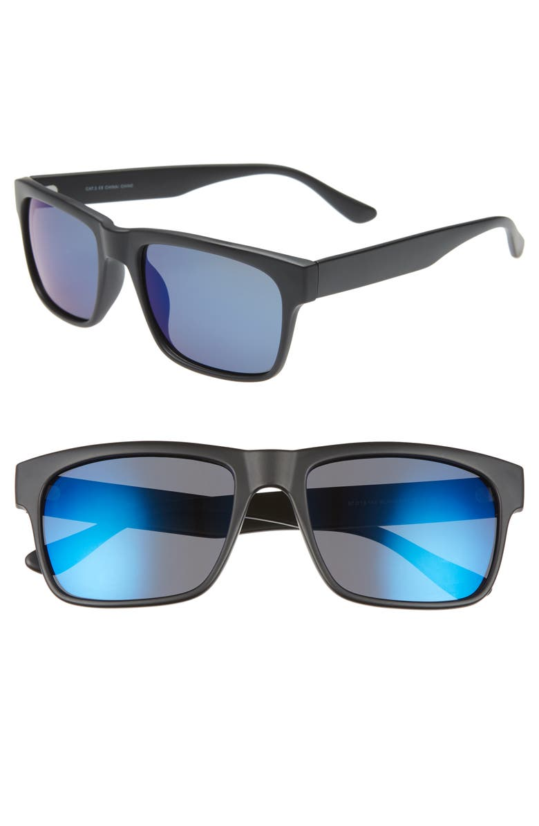 1901 Hollis 57mm Polarized Square Sunglasses, Main, color, 001