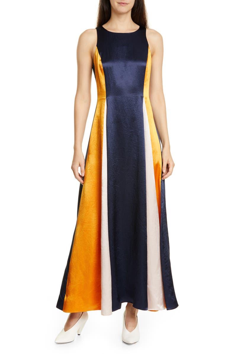 HUGO Kanisi Colorblock Maxi Dress, Main, color, CLEAN NAVY