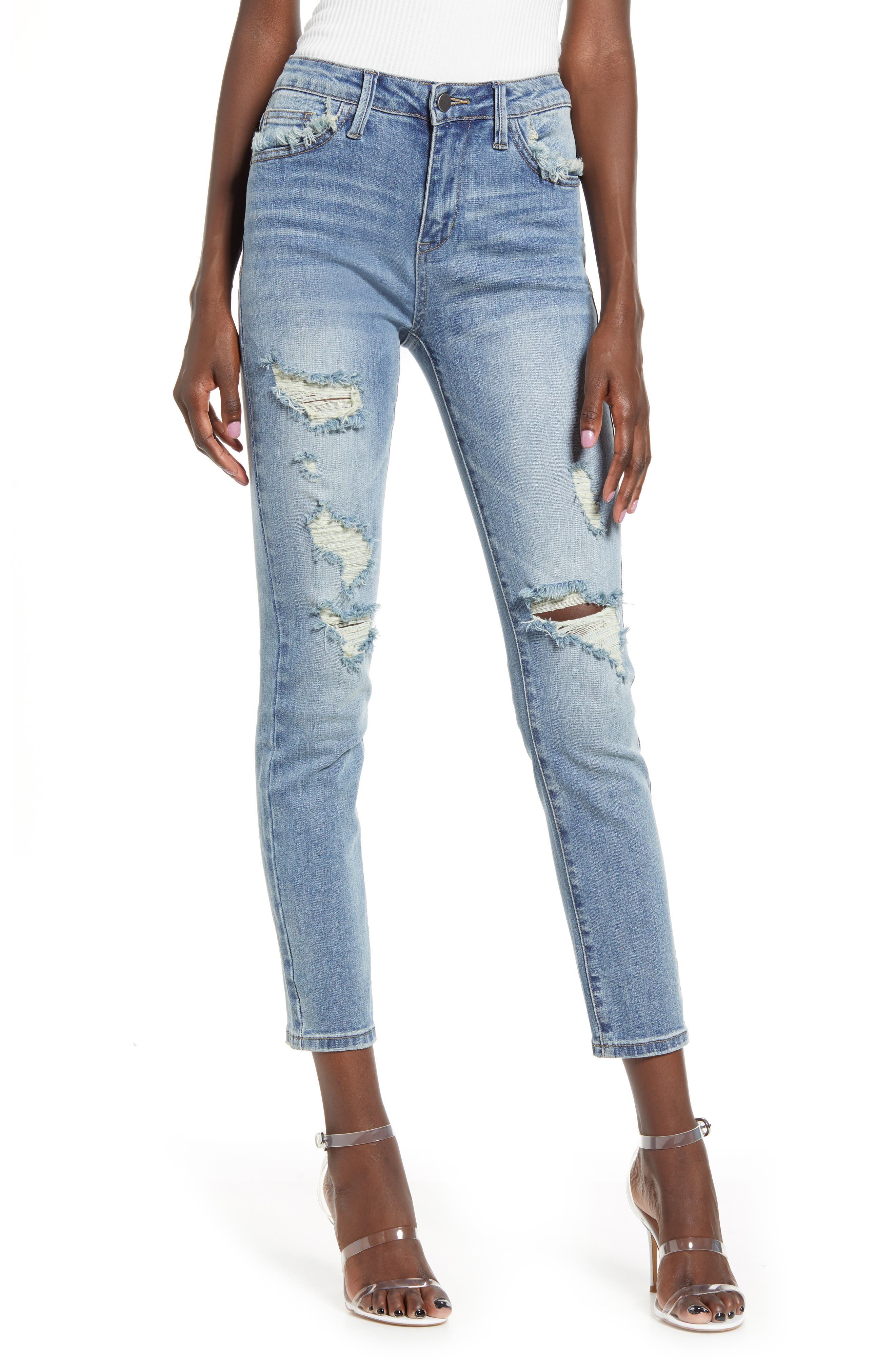 High Waist Ripped Ankle Skinny Jeans