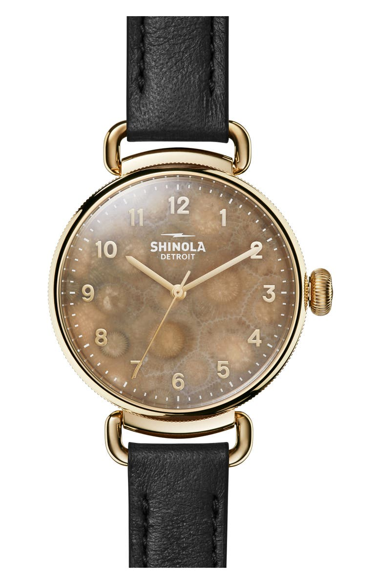 SHINOLA Canfield Leather Strap Watch, 38mm, Main, color, 005