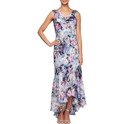 Alex Evenings Floral Print Cowl Neck Evening Gown, Ivory