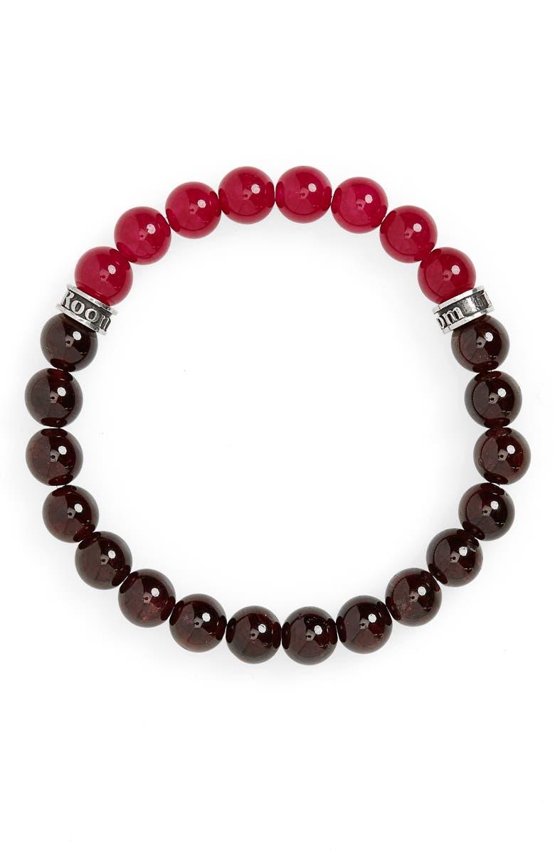 ROOM101 Garnet & Agate Bead Bracelet, Main, color, RED