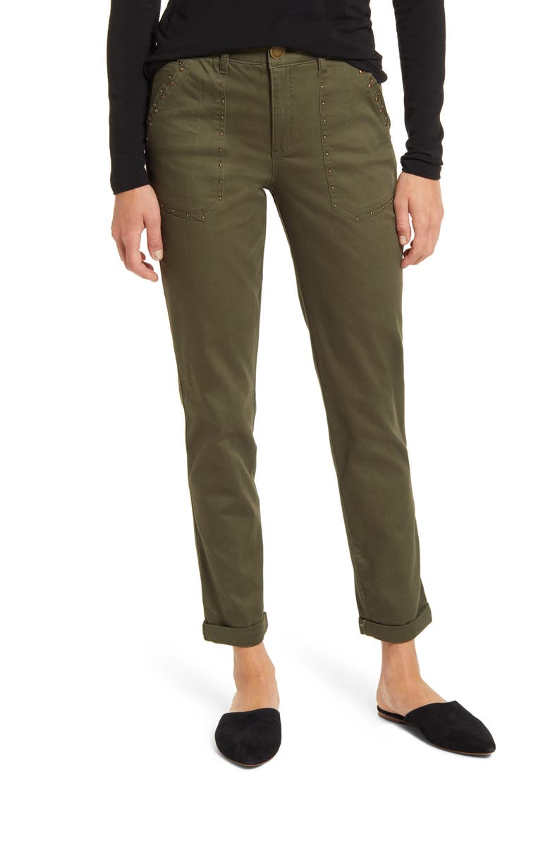 WIT & WISDOM Ab-Solution High Waist Studded Utility Pants, Main, color, CAPER