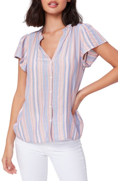 Paige REMY STRIPE BUTTON FRONT TOP
