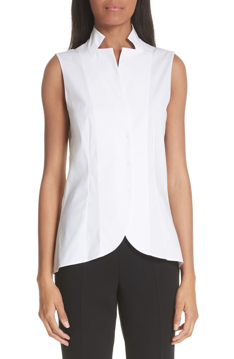 AKRIS Notch Collar Blouse, Main, color, WHITE