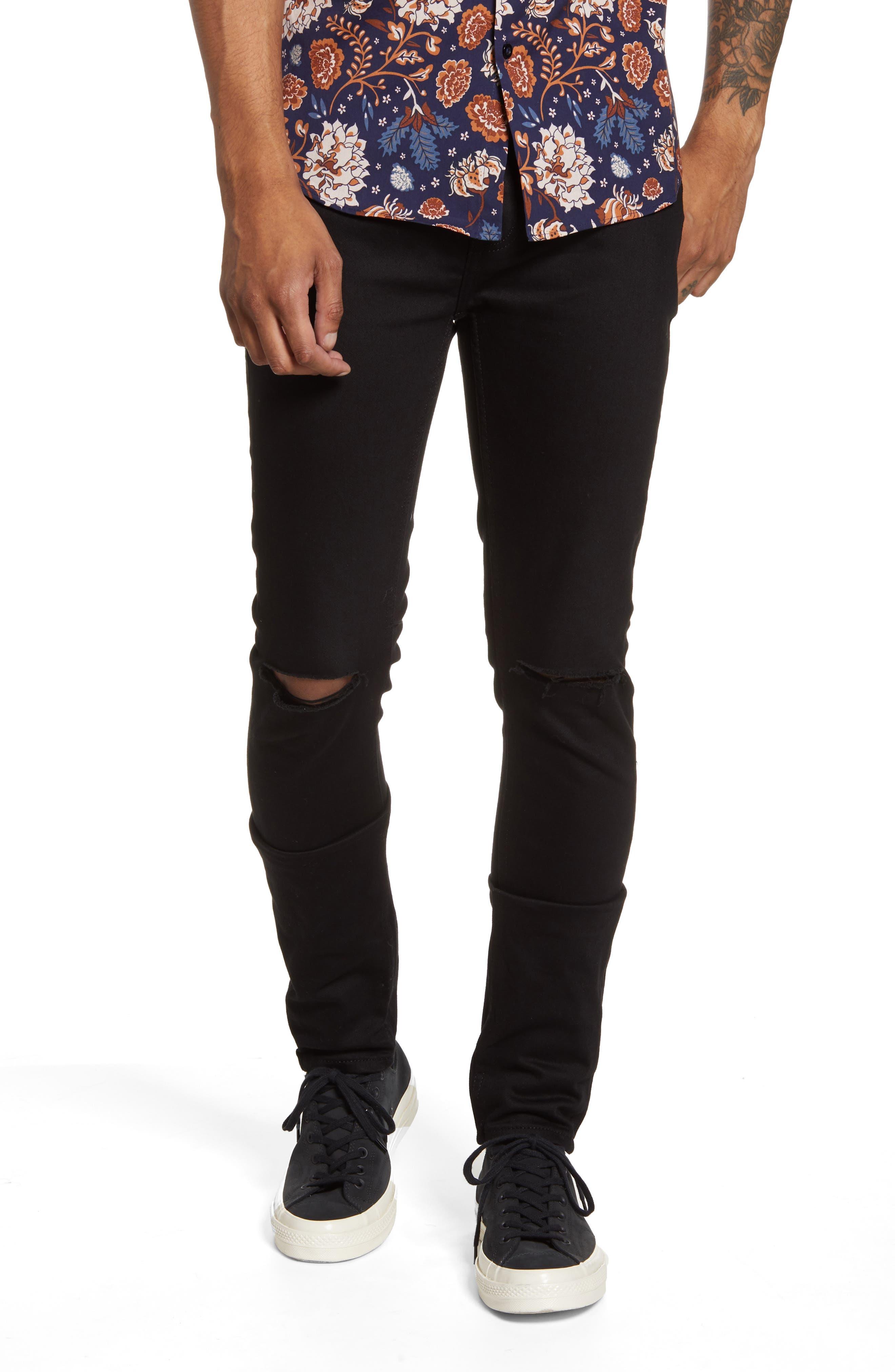 Men's Topman Ripped Skinny Jeans,  32 x 34 - Black