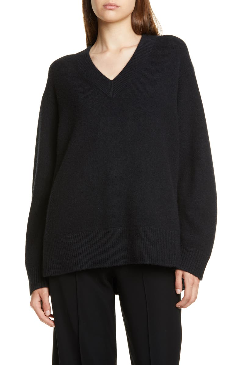 VINCE V-Neck Cashmere Tunic Sweater, Main, color, BLACK