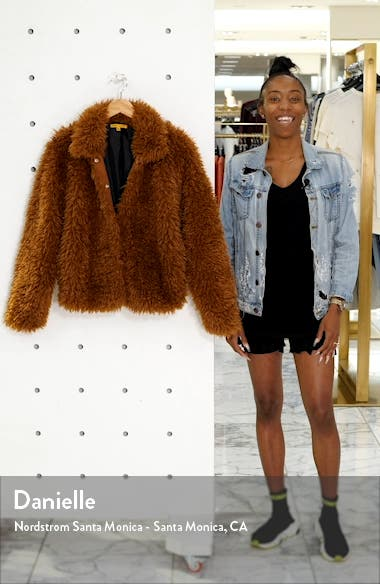 R29 x ELOQUII Curly Faux Fur Bomber Jacket, sales video thumbnail
