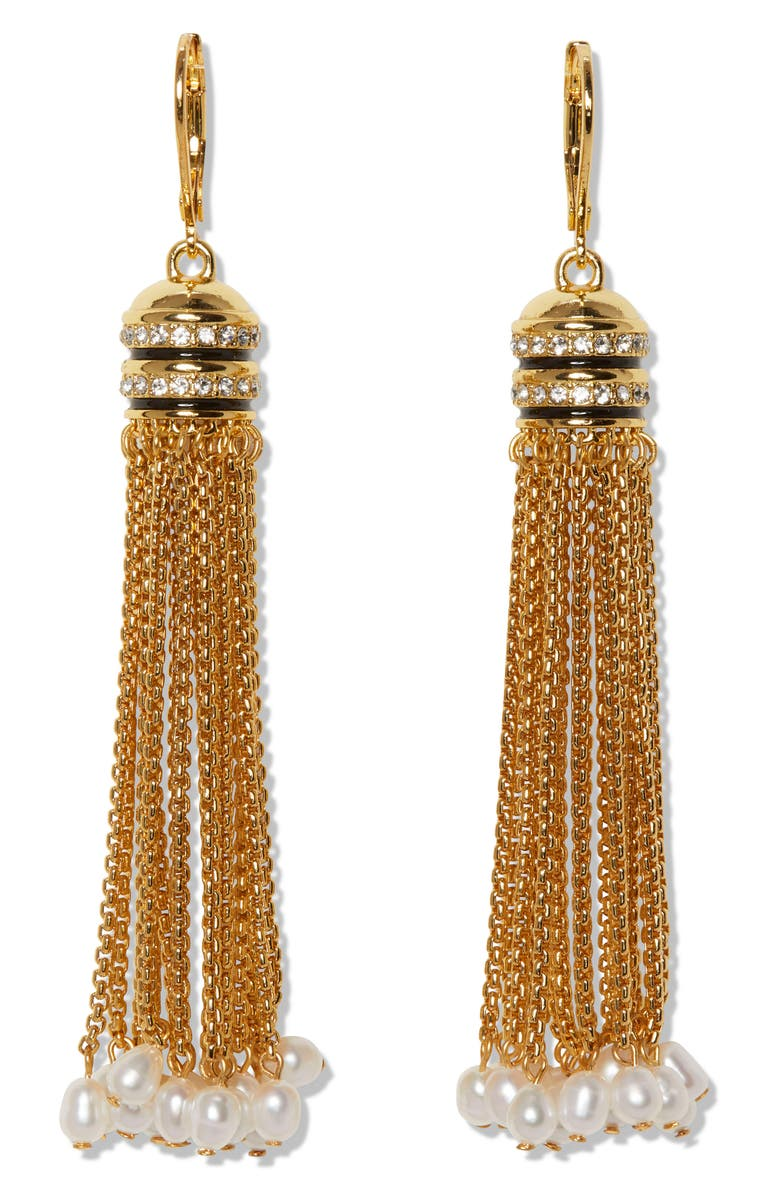 VINCE CAMUTO Tassel Fringe Earrings, Main, color, GOLD