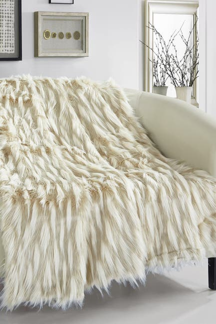 "Image of Chic Home Bedding Levida Two-Tone Faux Fur Blanket - 50"" x 60"" - Beige"