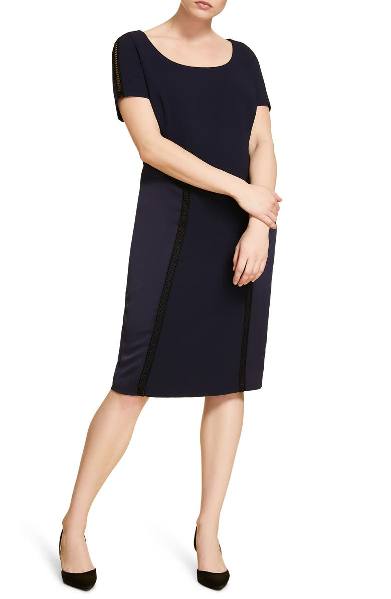 MARINA RINALDI Destino Sheath Dress, Main, color, NAVY BLUE