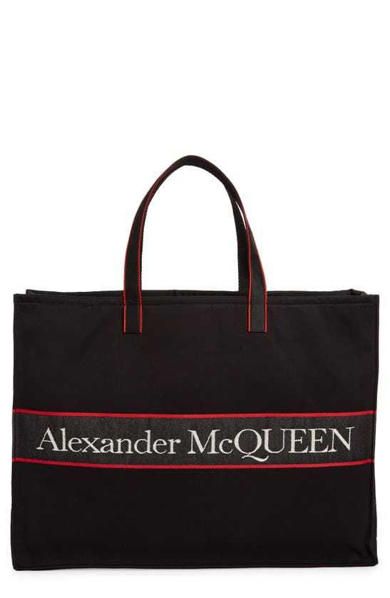 Alexander Mcqueen City Selvedge Logo East/west Tote In Black/ L. Red/ Off W