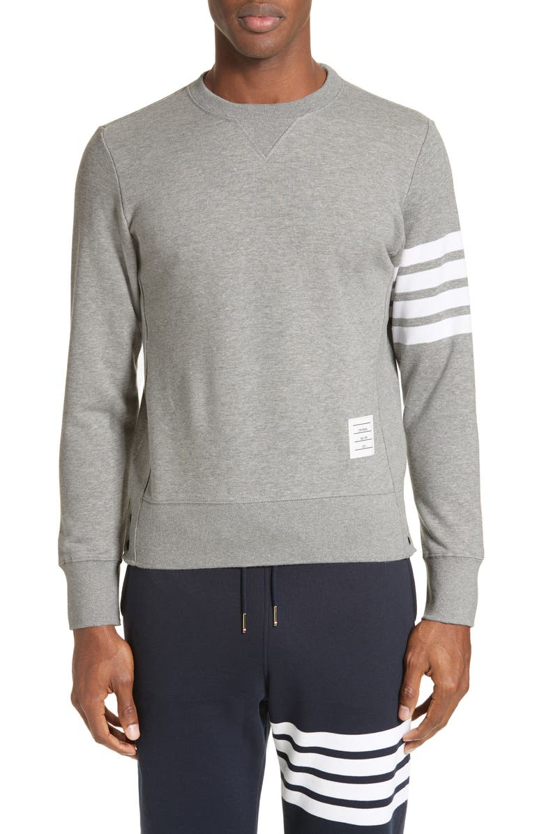 THOM BROWNE Stripe Sleeve Sweatshirt, Main, color, LIGHT GREY