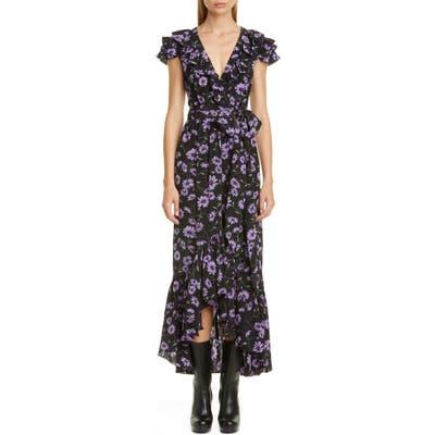 Michael Kors Floral Print Ruffle Wrap Dress, Black