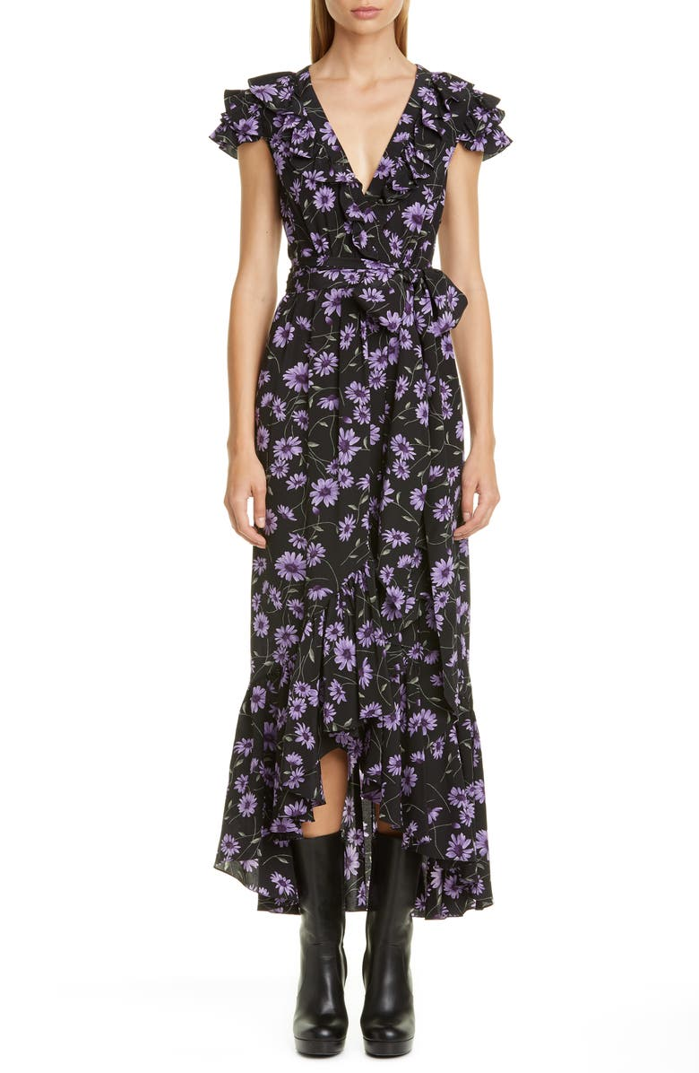 MICHAEL KORS COLLECTION Michael Kors Floral Print Ruffle Wrap Dress, Main, color, DAHLIA