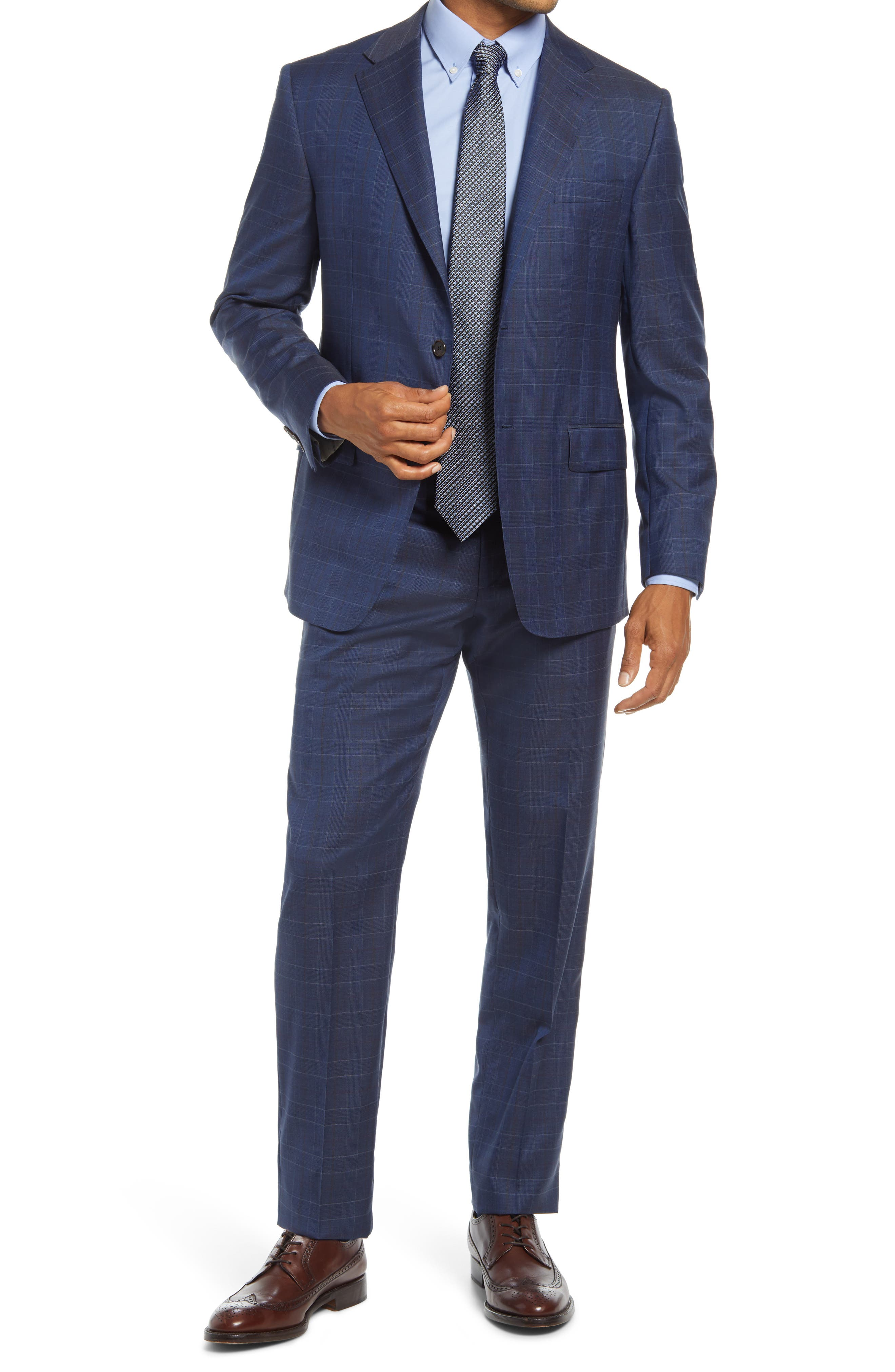 Infinity Classic Fit Plaid Wool Suit