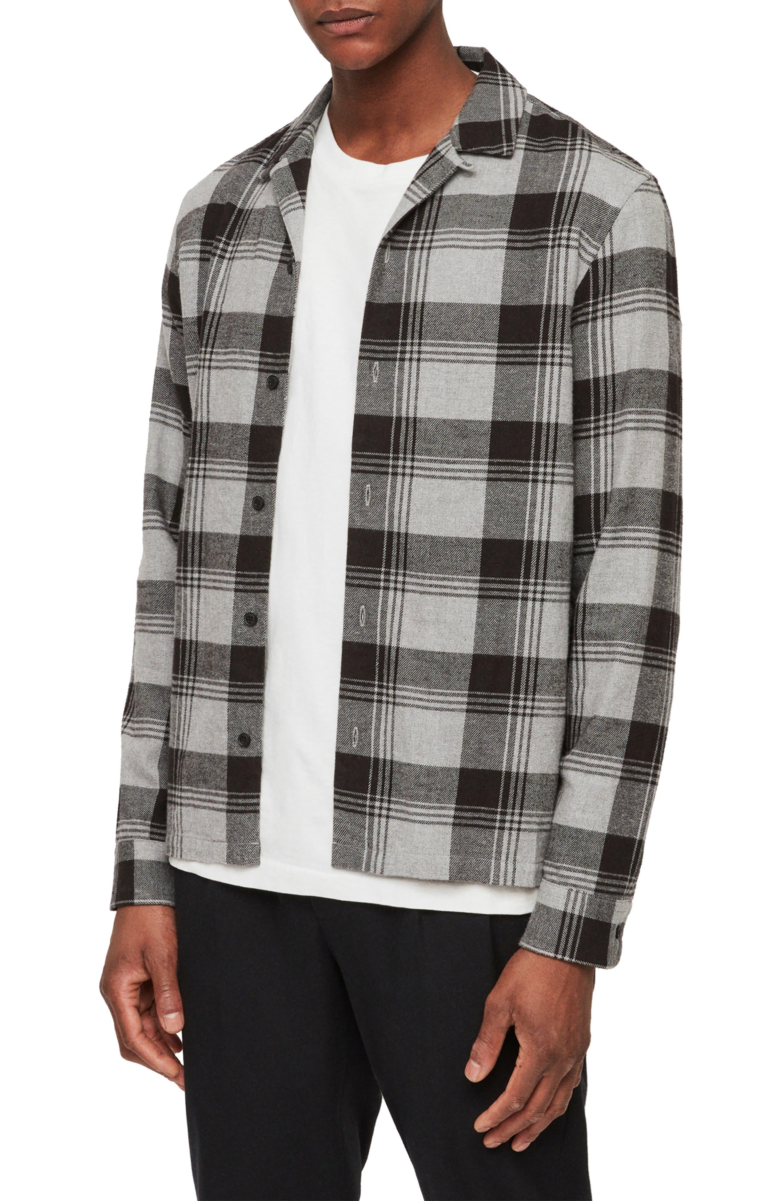 Allsaints Danby Flannel Slim Fit Shirt Jacket, Black