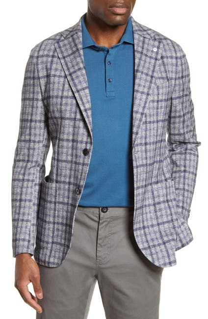Image of LUBIAM Trim Fit Plaid Cotton Sport Coat