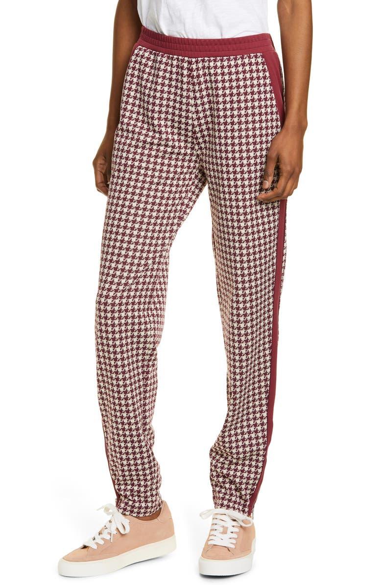 RAG & BONE Mari Houndstooth Track Pants, Main, color, WINE