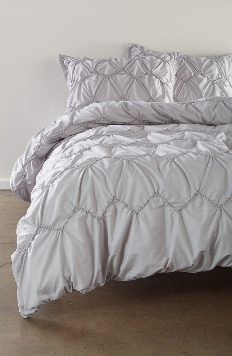 NORDSTROM Mara Textured Duvet Cover & Sham Set, Main, color, GREY VAPOR