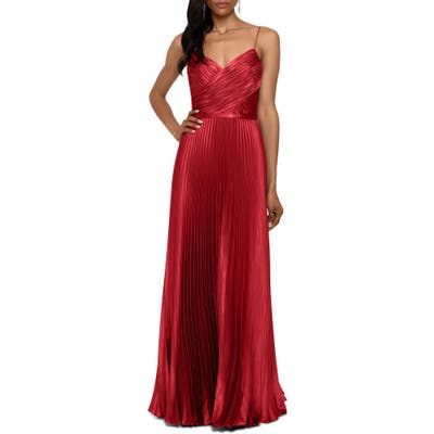 Betsy & Adam Crisscross Pleated Satin A-Line Gown, Red